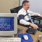 Computer polygraph test lie detector test display on computer monitor Criminal Bureau of Investigation Ohio USA police crime